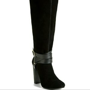 👢 NEW Real Leather Suede Black Boots 6 Wide Calf